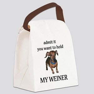 hold my weiner Canvas Lunch Bag